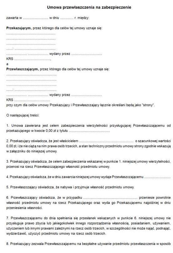 Wzór umowy przewłaszczenia na zabezpieczenie